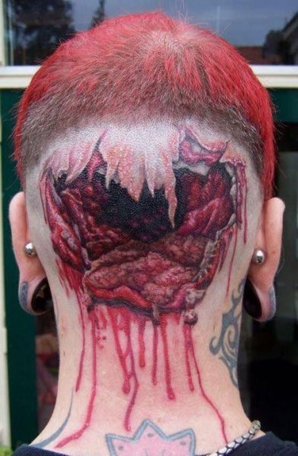 Tatouage Head Shot Geek Zombie