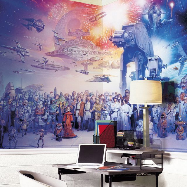 papier peint retro star wars geek star wars. Black Bedroom Furniture Sets. Home Design Ideas