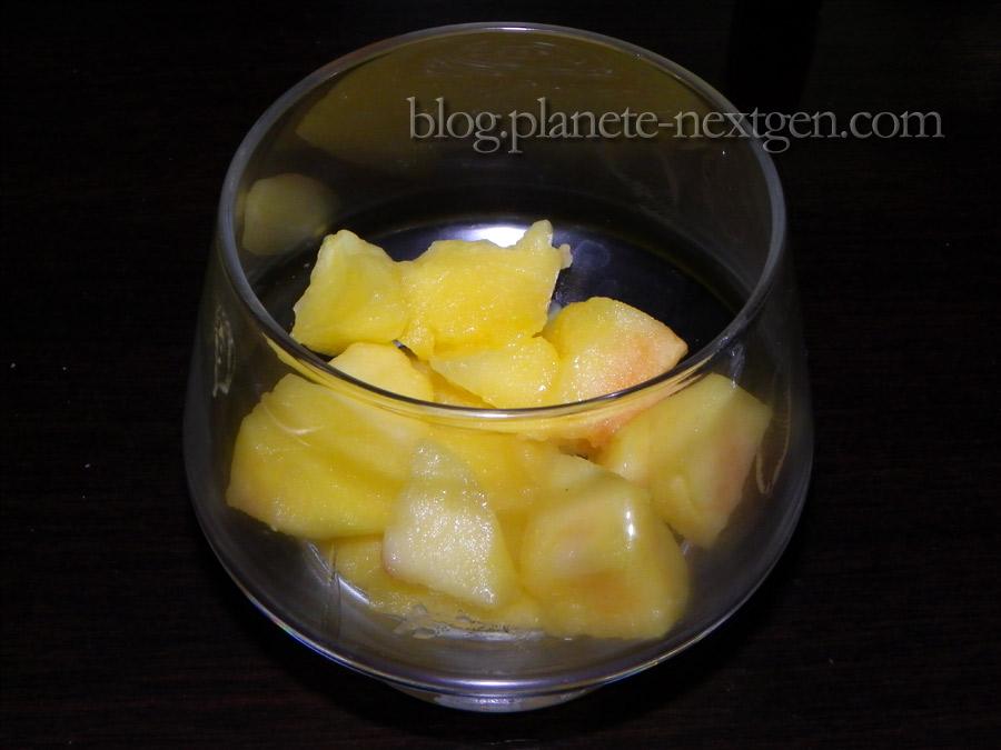 Verrines aux pommes et coulis de carambar
