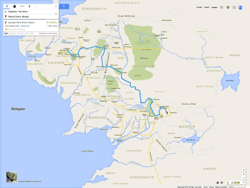 La Terre du Milieu en version Google Maps