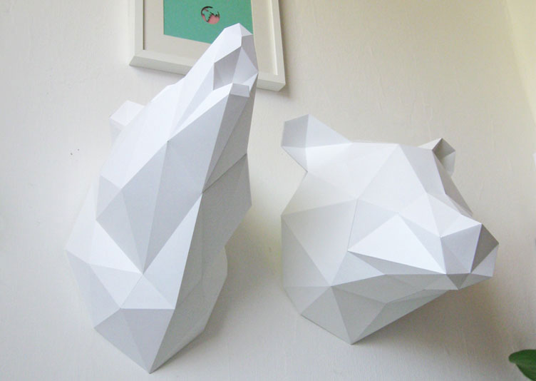 T te de loup murale origami geek idee deco for Decoration murale tete animaux