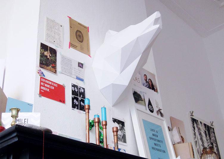 Tête de loup Murale Origami
