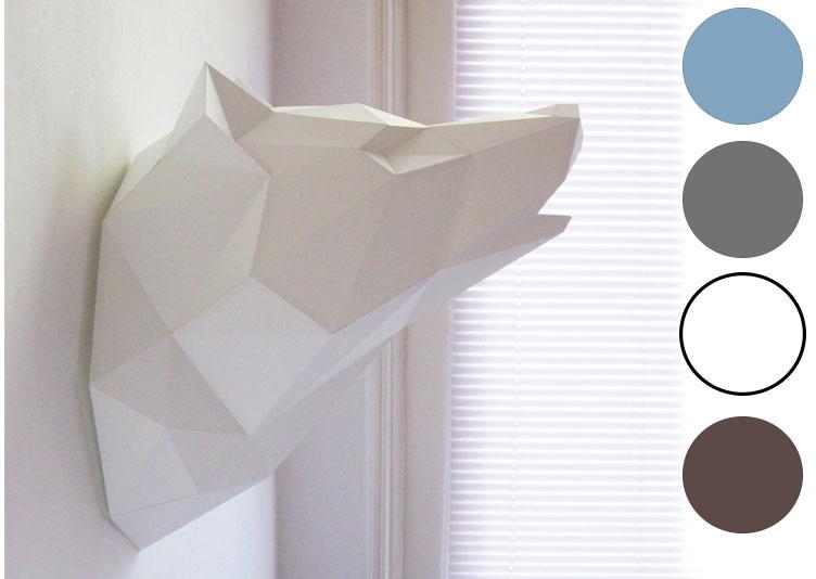 t te de loup murale origami geek idee deco. Black Bedroom Furniture Sets. Home Design Ideas