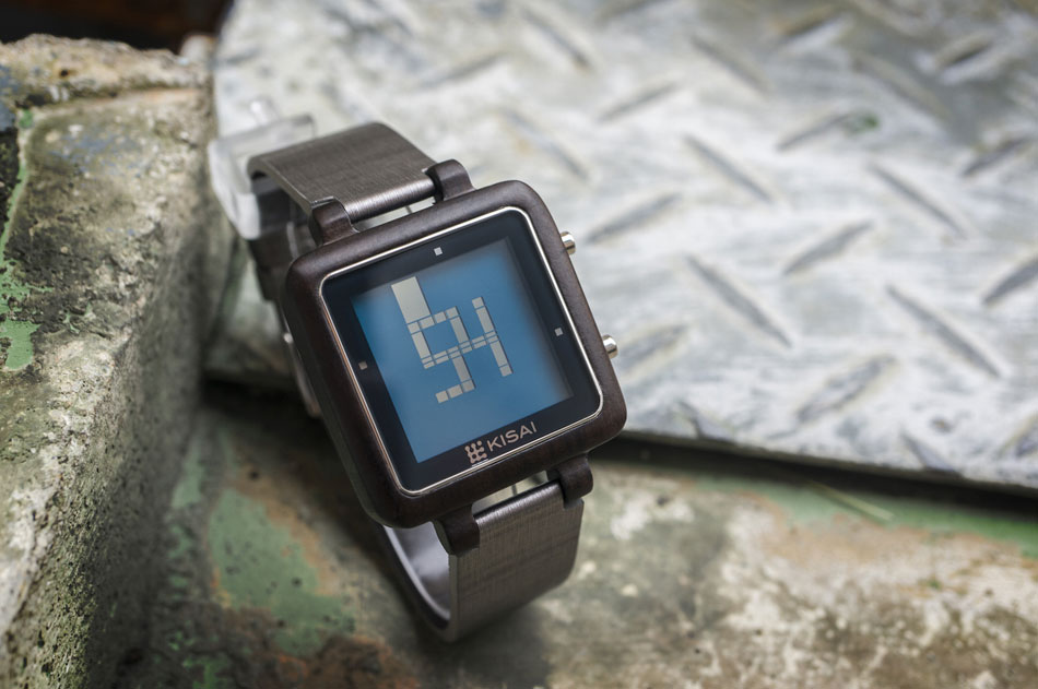 Montre Kisai Logo Wood LCD
