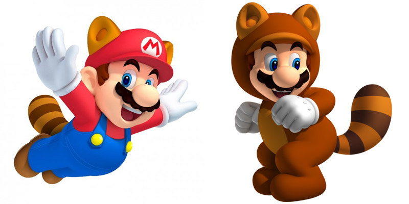 Différence entre Mario Raccoon et Tanooki